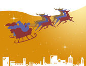 Santa Claus in his sleigh on the golden sky with star — Stock Photo