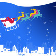 Sata claus with his sleigh run on snow sky and the shiny star — Stock Photo