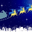 Stock Photo: SantClaus in his sleigh with night sky over city background