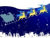 Jultomten i hans släde med snö och natt himmel över staden bakgrunden — Stockfoto