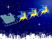 Noel baba olarak onun kızak şehir arka plan üzerinde gece gökyüzü ile — Stok fotoğraf