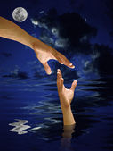 Hand help other who drowned in the water — Stock Photo