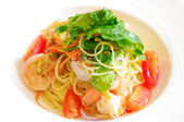 Spaghetti with shrimp — Stock Photo