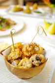 Fried seafood with flour — Stock Photo