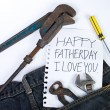 Stock Photo: Note for dad in Father day
