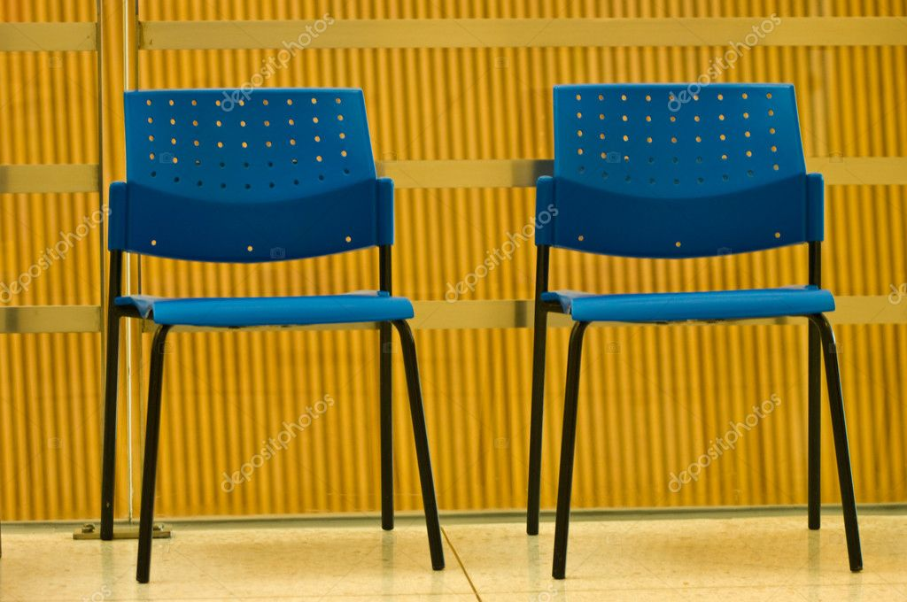 Blue chairs in the building — Stock Photo #7626173