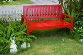 Red beach in the garden — Stock Photo