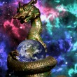 Stock Photo: Dragon rolled earth in space with orion