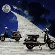 Stock Photo: Black retro scooter with stone road to moon