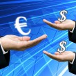 Bank hold Euro money for exchange with dollar money — Stock Photo