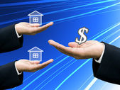 Builders offer the house project to investor — Stock Photo