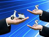 Businessman's hand sell motorbike — Stock Photo