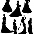 Stock Vector: Silhouette of bride