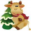Christmas cow — Stock Vector