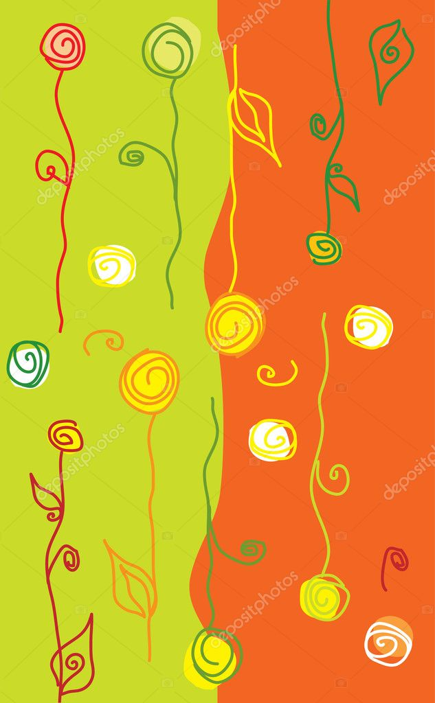 Whimsical bright flowers and swirls (vector)  — Stock Vector #7405660