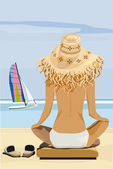 Girl on the beach — Vector de stock