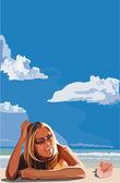 Girl on a beach — Stockvektor