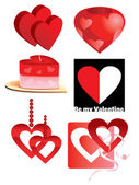 Objects in the shape of a heart — Stock Vector