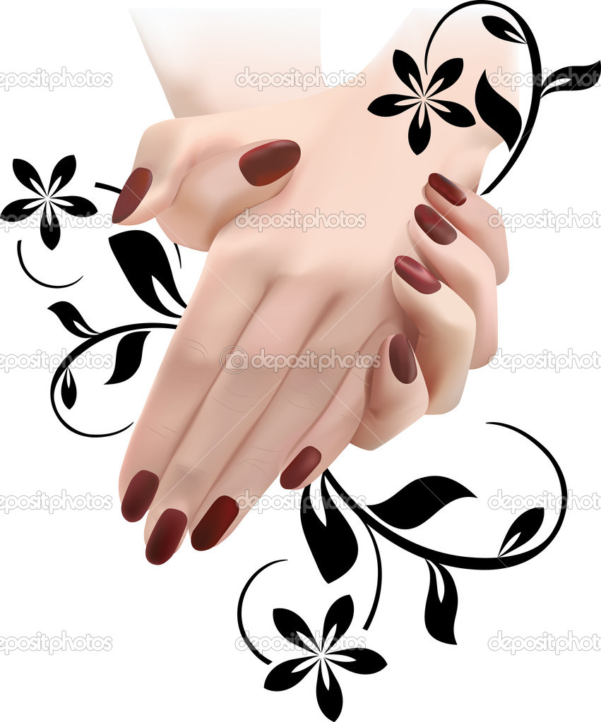 Девушка с ногтями рисунок