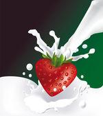 Strawberry and milk — Stock Vector