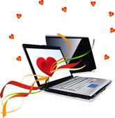 Illustration of the laptop — Stok Vektör