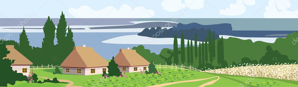 The Traditional Ukrainian landscape  Stock Vector #7445199