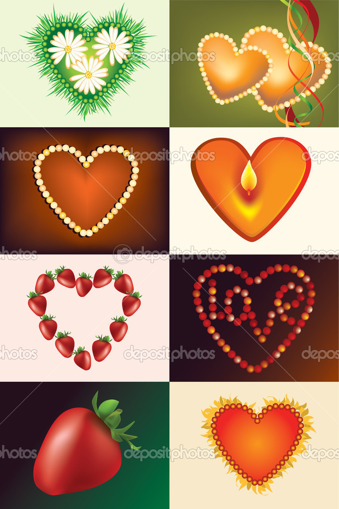 Set heart's for Valentines day  — Stock Vector #7448665