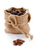 Coffee beans in canvas sack — Stock Photo
