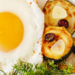 Roasted egg and zucchin - Stock Photo