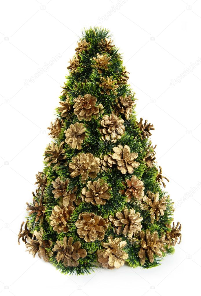 Christmas fir-tree and gold cone on a white background  — Stock Photo #7488359