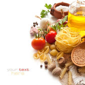 Pasta, vegetables and spices — Stock Photo