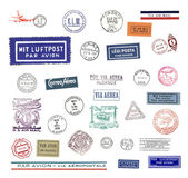 Vintage airmail labels and stamps — ストック写真