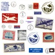 Postage stamps and labels from US - Stock Photo