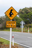 Sign caution pinguins — Stock Photo