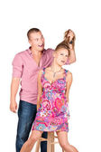 Picture of a man grasping woman's hair — Stock Photo