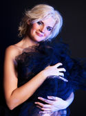 Lovely attractive woman with fabric — Foto de Stock