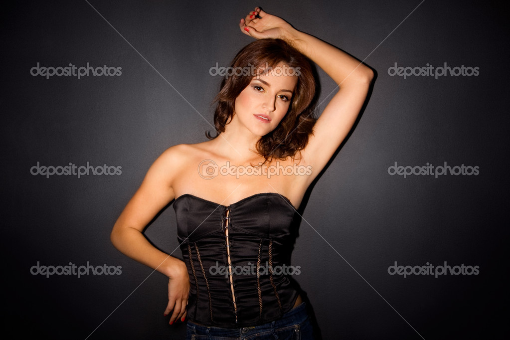 Sexy woman in black corset — Stock Photo #7414265