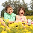 Two children laughing — Stock Photo