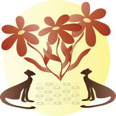 花と猫 — ストックベクタ