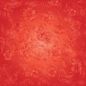 červené pozadí abstraktní s květinami — Stock vektor