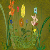 Flowerses op groene achtergrond — Stockvector