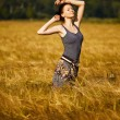Beauty girl in the wheat field — Stock Photo #7961922