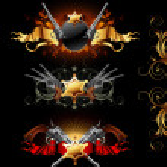Set of ornamental golden frames with guns — Stock Vector #7239121