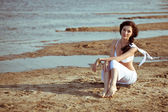Woman on on the sea — Stock Photo
