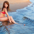 Red haired woman wearing bikini — Foto Stock