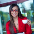Stock Photo: businesswoman in outdoors cafe
