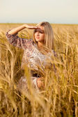 Woman sitting on wheat field — Stock Photo