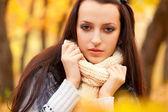 Closeup woman portrait in autmn park — Stock Photo