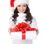 Woman wearing santa hat — Stock Photo