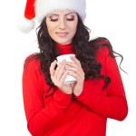 Woman looking to the coffee mug — Stock Photo